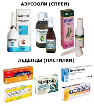 Медикаментозные леденцы и спреи от фарингита