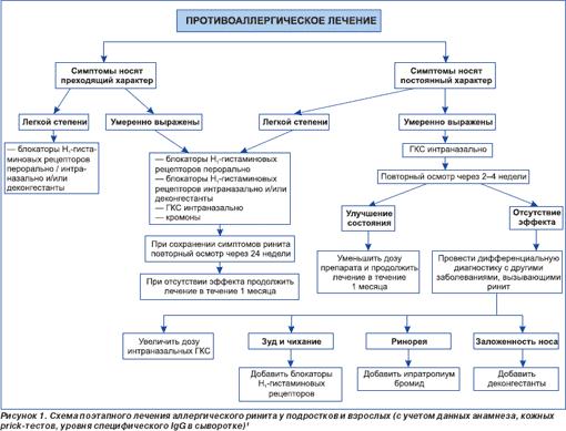 Схема поэтапного лечения аллергического ринита