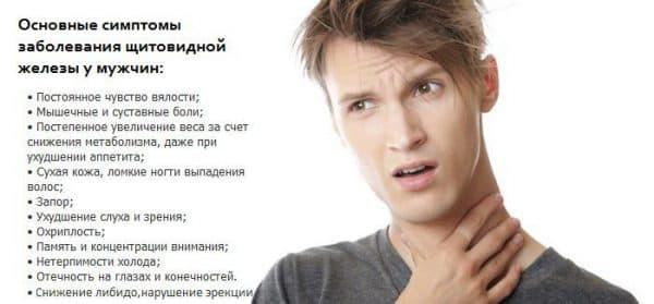 основные симптомы увеличения щитовидной железы у мужчин