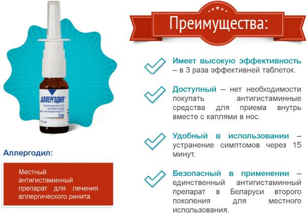 Аллергодил для лечения аллергического насморка