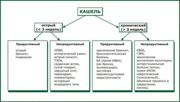 Классификация кашля на основе провоцируемого заболевания