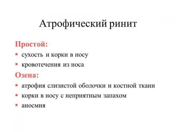 Симптомы атрофического ринита