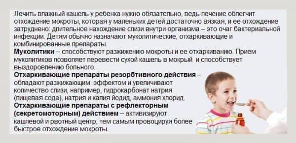 лечение влажного кашля у ребенка