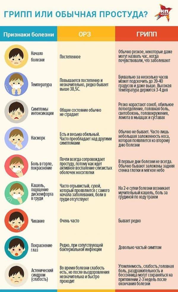 признаки гриппа и простуды