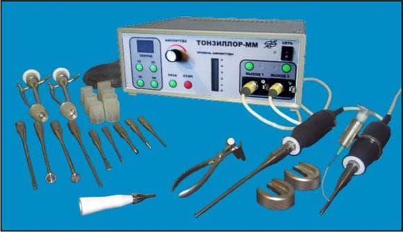 Набор инструментов для лечения тонзиллита ультразвуком